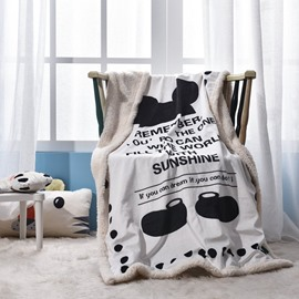 Black Shoes and Letters Printed Polyester Nordic Style White Baby Blanket