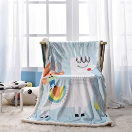 Rabbit Printed Polyester Nordic Style Blue Baby Blanket