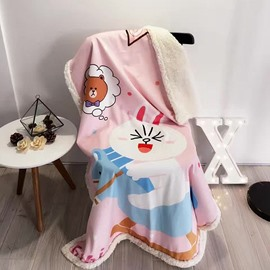 Rabbit Printed Polyester Nordic Style Pink Baby Blanket