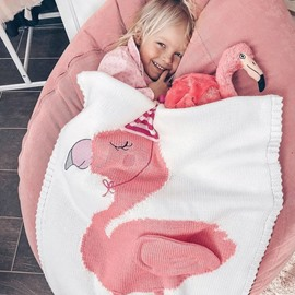 23.7*47.3in 3 Color Acrylic Lovely Flamingo Pattern Soft Baby Blanket