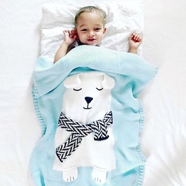 3 Color Knit Acrylic 23.7*47.3in Lovely Bear Pattern Soft Baby Blanket