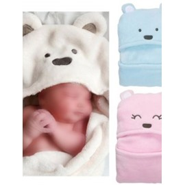 Stylish Hooded Swaddle Coral Velvet Baby Sleeping Bag