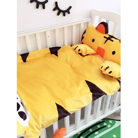 Tiger Shape Coral Velvet 3-Piece Yellow Baby Sleeping Bag