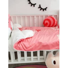 Squirrel Shape Coral Velvet 3-Piece Pink Baby Sleeping Bag
