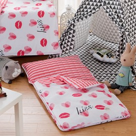 Red Lips Cotton 1-Piece White Baby Sleeping Bag