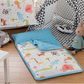 Cartoon Animals Cotton 1-Piece Blue and White Baby Sleeping Bag