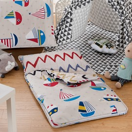 Sailboats Cotton 1-Piece Khaki Baby Sleeping Bag
