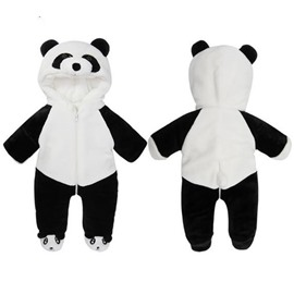 Panda Shape Flannel White Baby Sleeping Bag/Jumpsuit