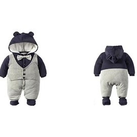 Cotton Simple Style Gray and Blue Baby Sleeping Bag/Jumpsuit