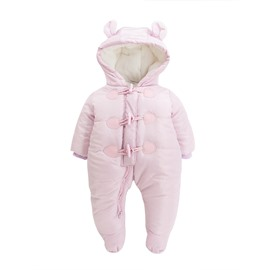 Button Decoration Cotton Simple Style Light Pink Baby Sleeping Bag/Jumpsuit