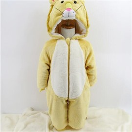 Bear Shape Flannel Simple Style Yellow Baby Sleeping Bag/Jumpsuit