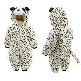 Panda Shape Leopard Flannel Baby Sleeping Bag/Jumpsuit