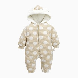 Polka Dot Cotton and Velvet Yellow Baby Sleeping Bag/Jumpsuit