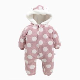 Polka Dot Cotton and Velvet Light Purple Baby Sleeping Bag/Jumpsuit