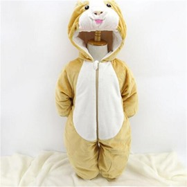 Squirrel Shape Flannel Simple Style Yellow Baby Sleeping Bag/Jumpsuit