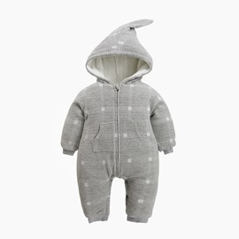 Grid Cotton and Velvet Simple Style Gray Baby Sleeping Bag/Jumpsuit