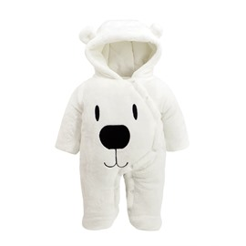 Polar Bear Flannel Simple Style White Baby Sleeping Bag/Jumpsuit