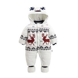 Deer Printed Cotton and Velvet Simple Style White Baby Sleeping Bag/Jumpsuit