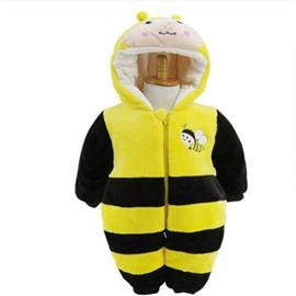 Little Bee Shape Flannel Yellow Baby Sleeping Bag/Jumpsuit