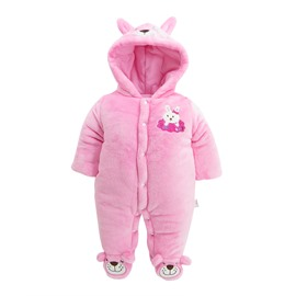 Rabbit Shape Flannel Simple Style Pink Baby Sleeping Bag