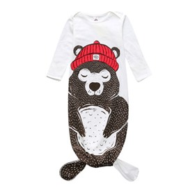 Fishtail Decoration Bear Printed Cotton 1-Piece White Baby Sleeping Bag