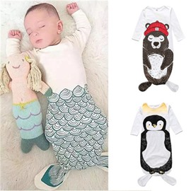 Mermaid Printed Cotton 1-Piece White Baby Sleeping Bag