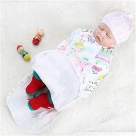 Zipper Cartoons Printed Cotton 1-Piece White Baby Sleeping Bag