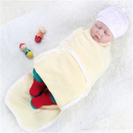Zipper Cotton 1-Piece Light Yellow Baby Sleeping Bag