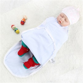 Zipper Cotton 1-Piece Light Blue Baby Sleeping Bag