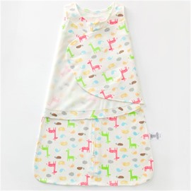 Giraffes Printed Cotton 1-Piece White Baby Sleeping Bag