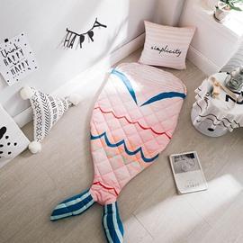Mermaid Printed Cotton 1-Piece Pink Baby Sleeping Bag