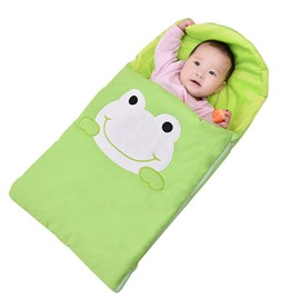 Green Cute Frog Shape Anti-Kicking Velvet Yellow Baby Sleeping Bag