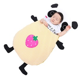 Cute Panda Shape Anti-Kicking Velvet Yellow Baby Sleeping Bag