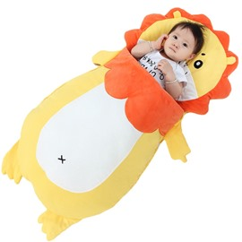 Yellow Cute Lion Shape Anti-Kicking Velvet Yellow Baby Sleeping Bag