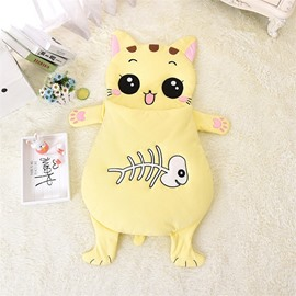 Cute Cartoon Cat Shape Anti-Kicking Velvet Yellow Baby Sleeping Bag