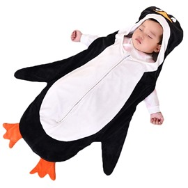 Cute Cartoon Penguin/Zebra Shape Anti-Kicking Velvet Green Baby Sleeping Bag