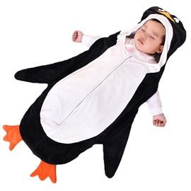 Cute Cartoon Penguin/Zebra Shape Anti-Kicking Velvet Green Baby Sleeping Bag