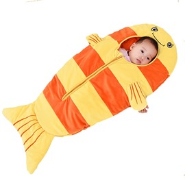 Orange Small Fish Pattern Anti-Kicking Velvet Baby Sleeping Bag