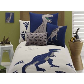 Dinosaur Embroiderys 4 Pieces Combed Cotton Duvet Cover Sets