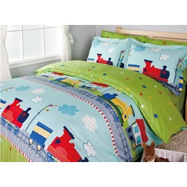 Little Train Print 3-Piece Cotton Duvet Cover Sets
