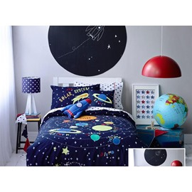 Solar System Pattern Cotton Boy 3-Piece Blue Duvet Covers Colorfast Wear-resistant Endurable Skin-friendly All-Season Ultra-soft No-fading Bedding Sets