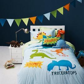 Dinosaur World 3-Piece Cotton Kids Duvet Cover Sets