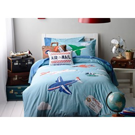 Blue Plane on the Sky Print 4-Piece Cotton Kids Duvet Cover Sets