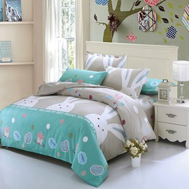 Big Rabbits Pattern Cotton 4-Piece Blue Kids Duvet Covers/Bedding Sets
