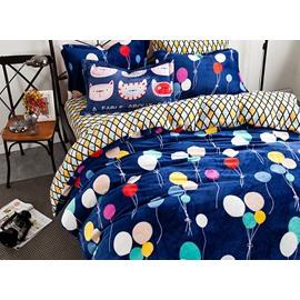 Cute Balloon and Plaid Pattern Kids Duvet Cover Set