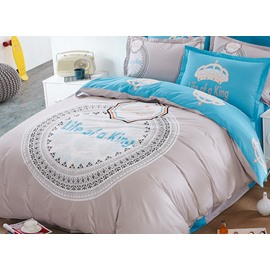 Life of A King 100% Cotton Kids 4-Piece Duvet Cover Set