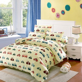 Lovely Cars in Line Pattern Kids Cotton 4-Piece Duvet Cover Sets