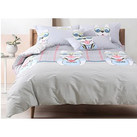 High Class Cute Cartoon Dog and Stripe Cotton 4-Piece Duvet Cover Sets