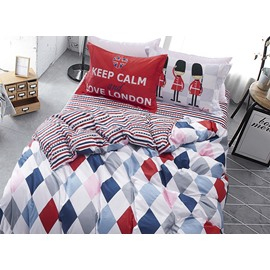 Colorful and Fresh Plaid Pattern Kids Cotton 4-Piece Duvet Cover Sets