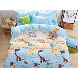 Lovely Cartoon World Pattern Kids Cotton 4-Piece Duvet Cover Sets
